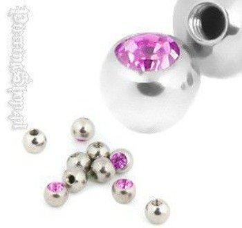 NAKRĘTKA KULKA śr. 3mm, oczko różówe gwint 1,2mm [MJB]