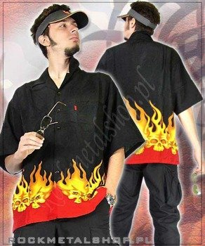 WORKSHIRT FLAMES AND SKULL