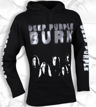 bluza DEEP PURPLE - BURN czarna, z kapturem