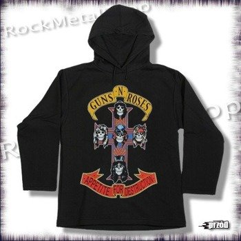 bluza GUNS N ROSES - APPETITE FOR DESTRUCTION, czarna z kapturem