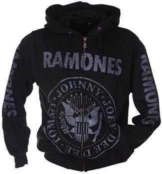 bluza RAMONES - TOMMY, JOHNNY, JOEY, DEEDEE czarna, rozpinana z kapturem