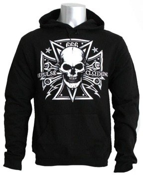 bluza REPULSE SKULL czarna, z kapturem