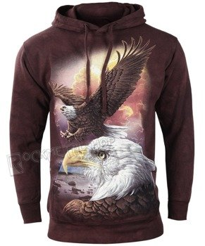 bluza THE MOUNTAIN - EAGLE & CLOUDS, kangurka z kapturem, barwiona