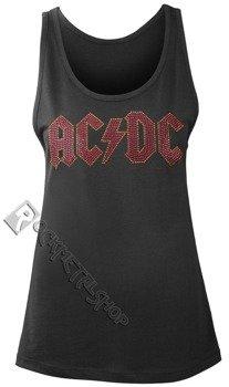 bluzka damska AC/DC - CLASSIC LOGO CHARCOAL, na ramiączkach cyrkonie