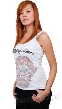 bluzka na ramiączka ROLLING STONE - ENGLAND DIAMANTE biała