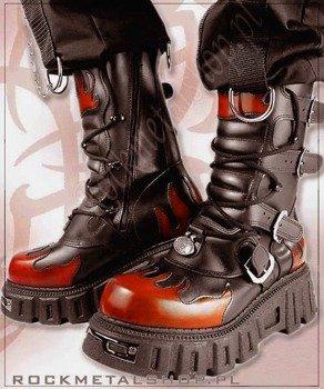 buty New Style KMM czarno pomarańczowy [WZ. 382], 4 klamry z wzmacnianą cholewą