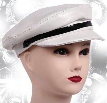 czapka biała - CYCLES CAP skóra ekologiczna