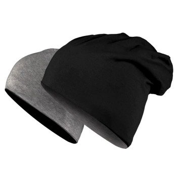 czapka dwustronna MASTERDIS - JERSEY BEANIE REVERSIBLE  black/ht.charcoal