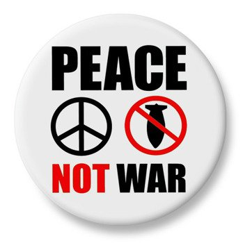 duży kapsel PEACE NOT WAR biały