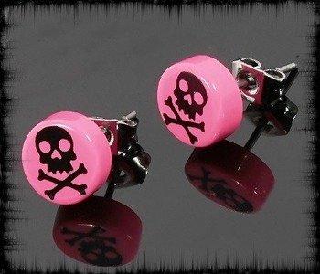 kolczyk BLACK SKULL różowy 7mm