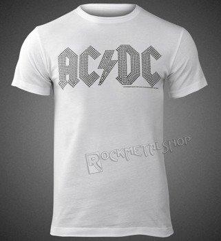 koszulka AC/DC - CLASSIC LOGO WHITE BLACK, cyrkonie