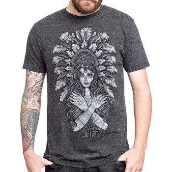 koszulka AFFLICTION - MAYAN HEADRESS ciemnoszary melanż