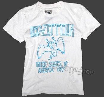 koszulka LED ZEPPELIN - UNITED STATES OF AMERICA '77 biała
