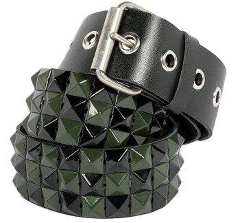pasek 3-RZĘDY z ćwiekami PYRAMID black-green, skóra ekologiczna