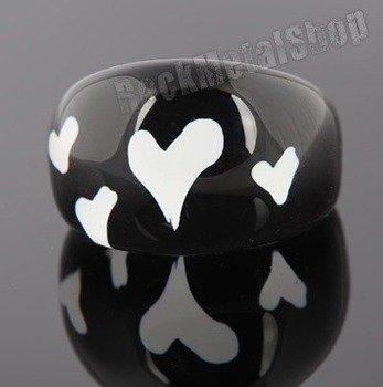 pierścień HEARTS czarny