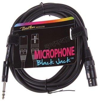przewód mikrofonowy BOSTON: XLR -  DUŻY JACK STEREO (6.3mm) / 10m