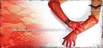 rękawiczki czerwone BROKAT LONG