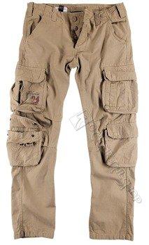 spodnie bojówki AIRBORNE VINTAGE TROUSERS SLIMMY BEIGE