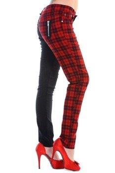 spodnie damskie BANNED - BLACK/RED CHECK