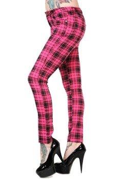 spodnie damskie BANNED - PINK TARTAN