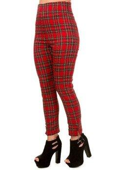 spodnie damskie BANNED - RED TARTAN