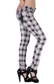 spodnie damskie BANNED -  WHITE & BLACK GRID