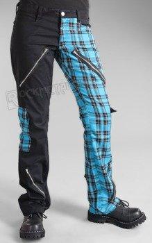 spodnie damskie FREAK PANTS TARTAN BLACK/LIGHT BLUE
