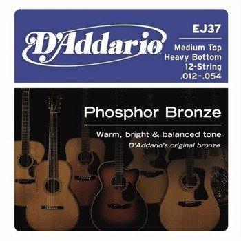 struny do gitary akustycznej 12str. D'ADDARIO - Med.Top/Heavy Bot. EJ37 /012-054/