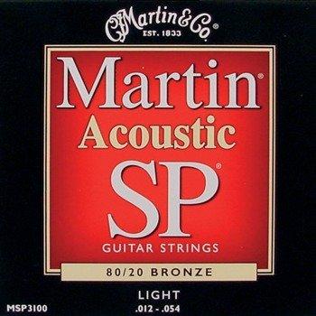 struny do gitary akustycznej MARTIN MSP3100 - 80/20 BRONZE Light /012-054/