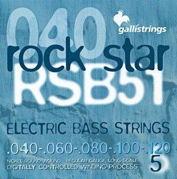 struny do gitary basowej 5str. GALLI STRINGS - ROCK STAR RSB51 NICKEL WOUND /040-120/