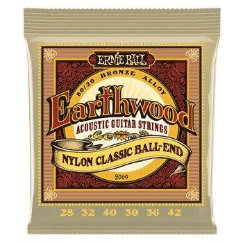 struny do gitary klasycznej ERNIE BALL EB2069 Earthwood Nylon, Ball-End, 80/20 Bronze /028-042/