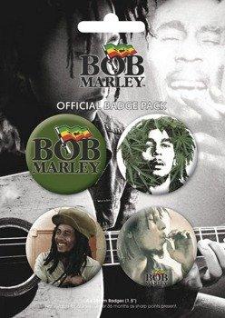 zestaw 4 szt. przypinek BOB MARLEY