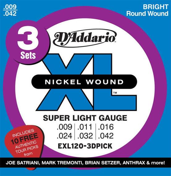 3 x struny do gitary elektrycznej + 10 sygnowanych kostek D'ADDARIO EXL120-3DPICK /009-042/