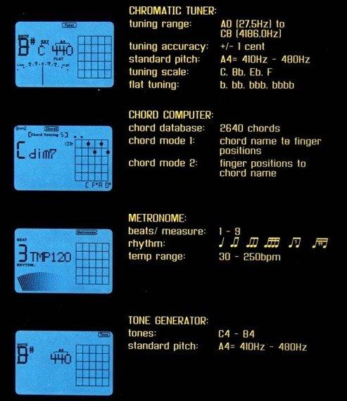 """""""4w1"""": tuner chromatyczny, metronom, kamerton, bank akordów BOSTON BTU-1000"""