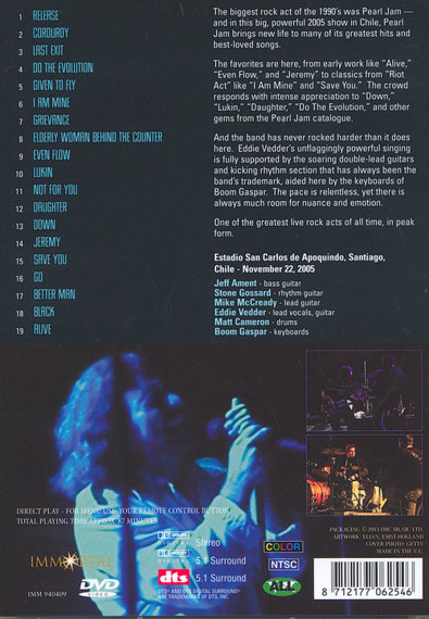 PEARL JAM: LIVE IN CHILE 2005 (DVD)