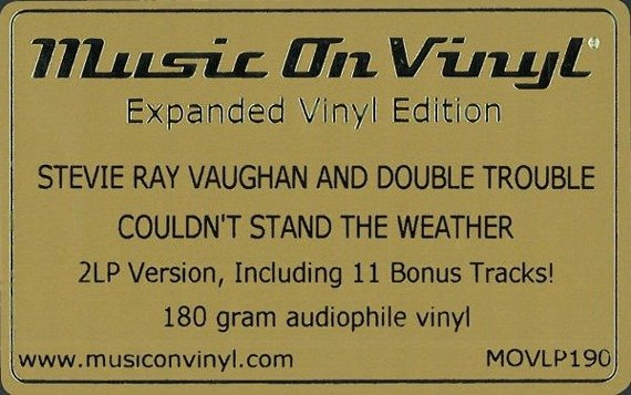 STEVE RAY VAUGHAN: COULDN'T STAND THE WEATHER (LP WINYL)