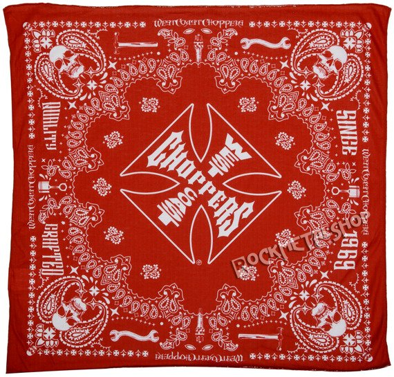 bandana WEST COAST CHOPPERS - HANDCRAFTED RED