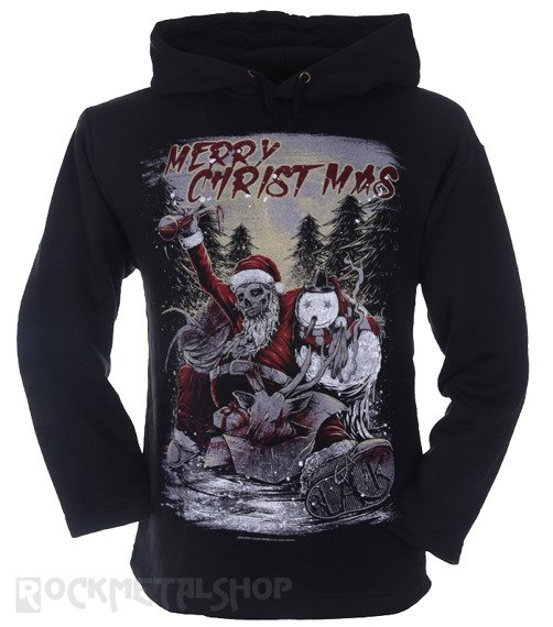 bluza BLACK ICON - MERRY CHRISTMAS czarna z kapturem