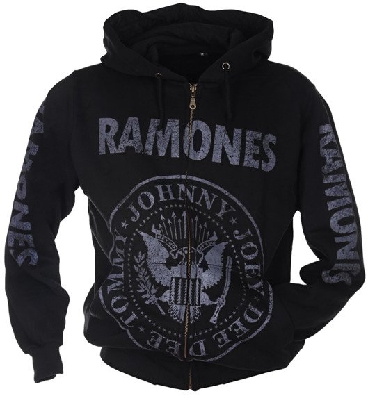 bluza RAMONES - TOMMY, JOHNNY, JOEY, DEEDEE czarna, rozpinana z kapturem