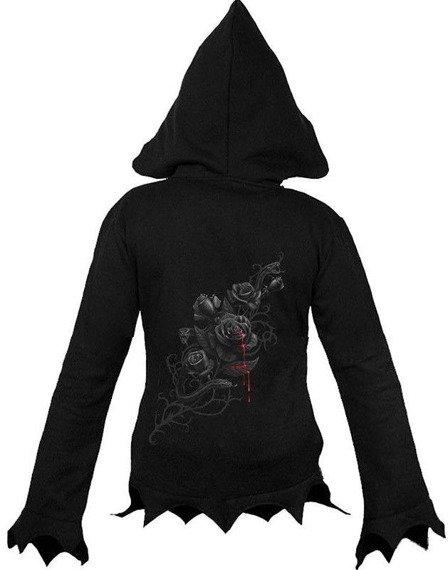 bluza damska BLACK ROSE czarna, rozpinana z kapturem