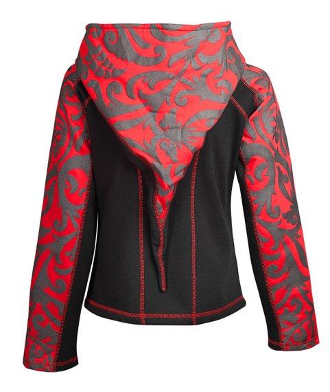 bluza damska HEXAGON - RED TRIBAL rozpinana, z kapturem