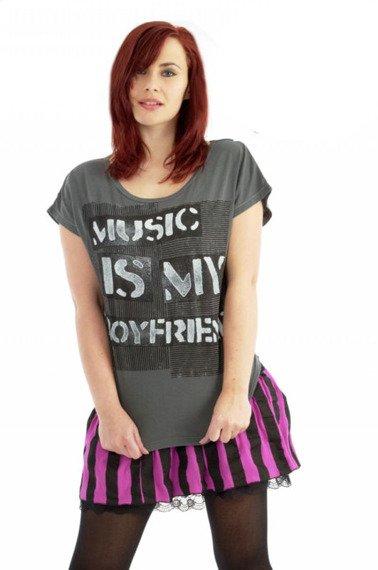 bluzka damska ABBEY DAWN - MUSIC IS MY BF (CHARCOAL)