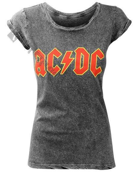 bluzka damska AC/DC - CLASSIC LOGO ACID WASH