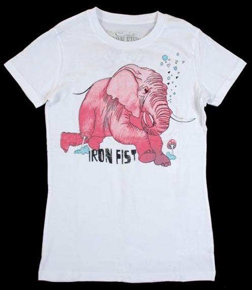 bluzka damska  IRON FIST - PINK ELEPHANT  (WHITE)