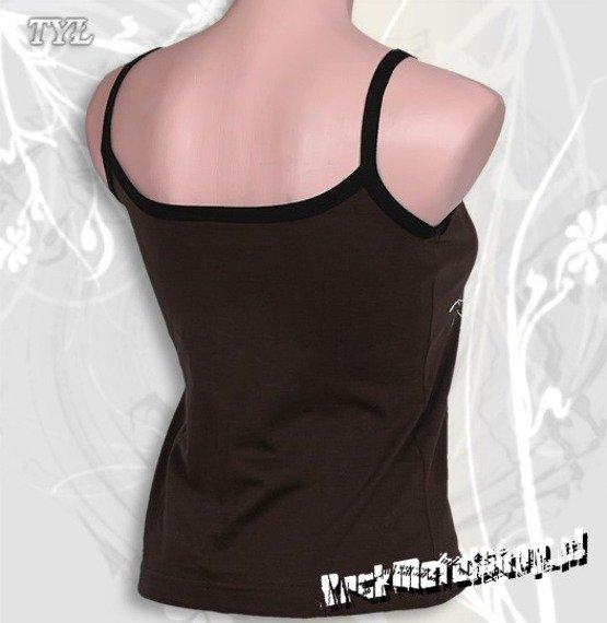 bluzka damska KORN - LOGO brązowa, na ramiączkach