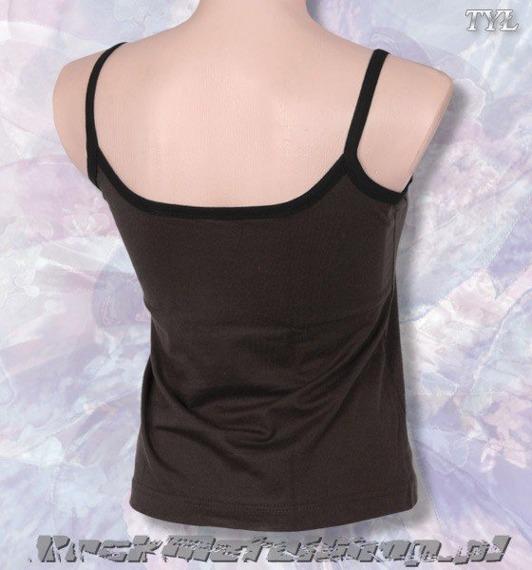 bluzka damska MUZYKA PRZECIWKO RASIZMOWI brązowa na ramiączkach