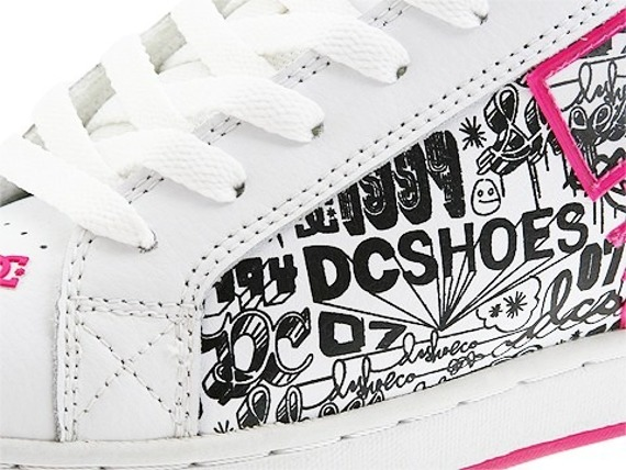 buty damskie DC- COURT GRAFFIK SE (WHITE/CRAZY PINK/BLACK)