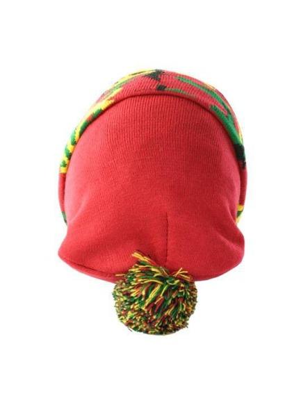 czapka zimowa MASTERDIS - BEANIE POMPON CAMO red rasta camo