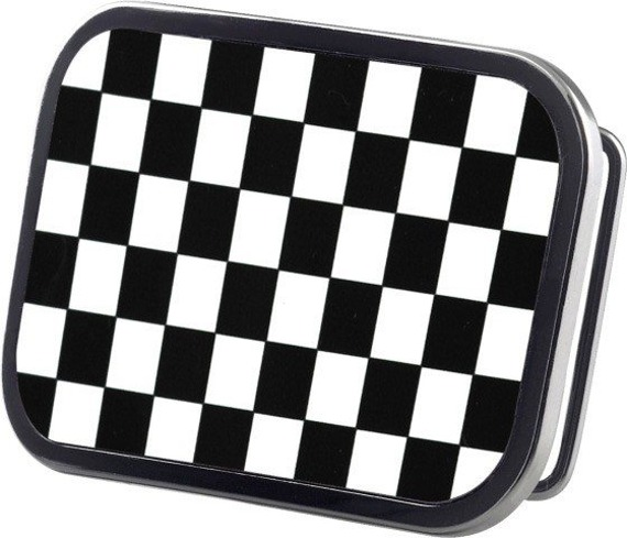 klamra do pasa CHECKERS BLACK/WHITE