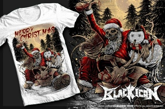 koszulka BLACK ICON - MERRY CHRISTMAS (MICON042 WHITE)